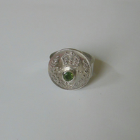 1920 silver threepence ring set with coloured sapphire