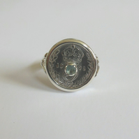 1921 threepence ring set with blue sapphire