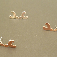 Stag head stud earrings in silver