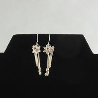 Dainty daffodil dangle Sterling earrings