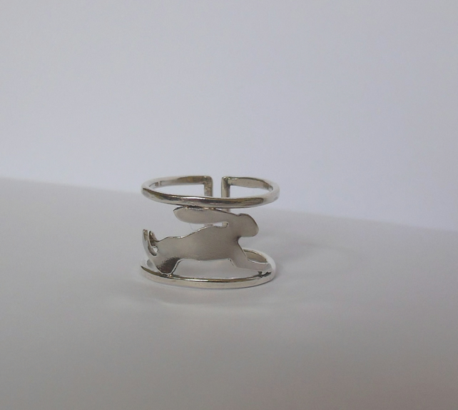 Leaping Hare ring in Sterling Silver