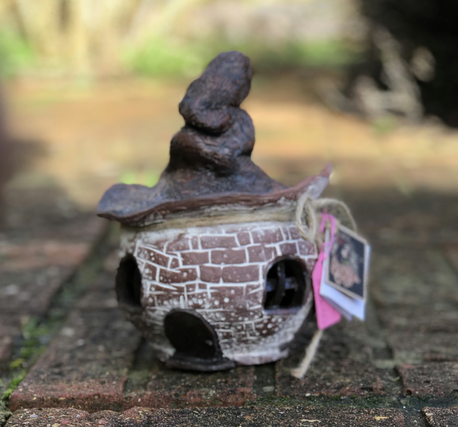Large Ceramic Fairy House Candle Holder or incense burner