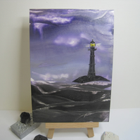 Lighthouse original encaustic wax painting