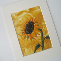 Sunflower original encaustic art wax painting picture mounted flower