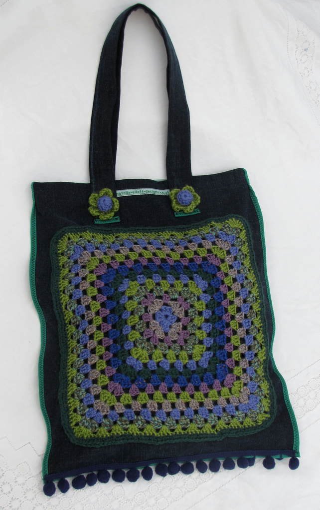 Fabric and crochet bag in blues and greens