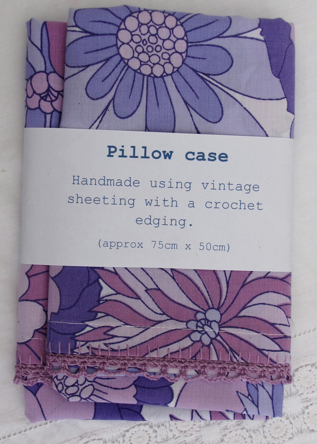 Vintage sheet pillowcase with crochet edging