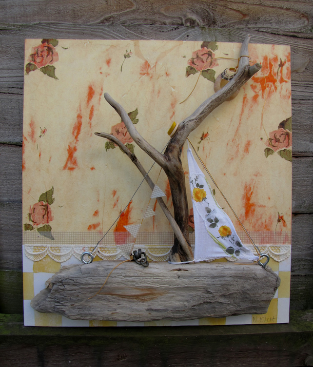 Driftwood boat picture with roses