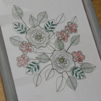 Small flowers - machine embroidery in grey and greens