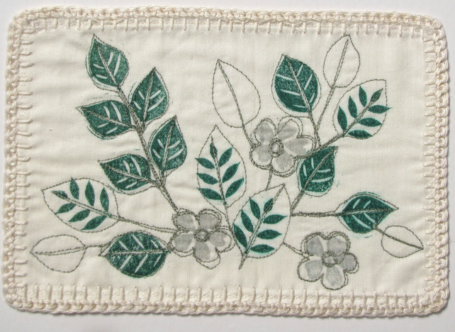Small leaves and flowers - machine embroidered picture