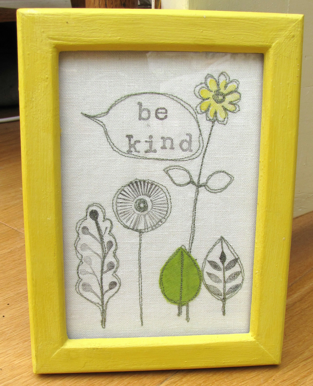 Yellow framed textile art - 'be kind'