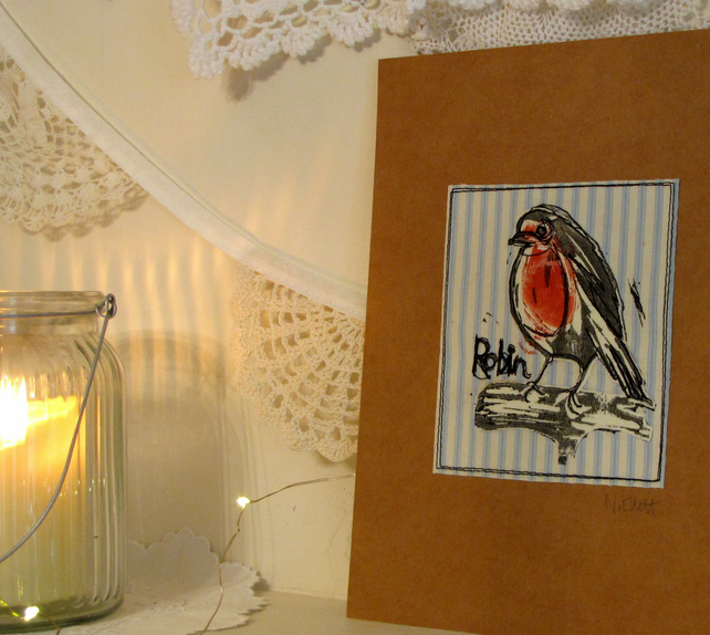 Christmas robin on blue stripe - lino print