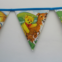 Vintage paper bunting - Andy Pandy (puppy)
