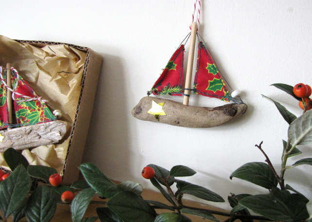Driftwood boat Christmas decoration - red holly sails