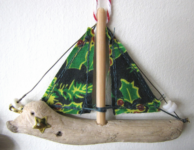 Driftwood boat Christmas decoration - green holly sails