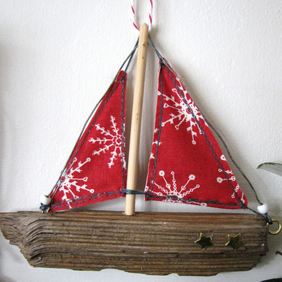 Driftwood boat Christmas decoration - red sails (slightly larger!)