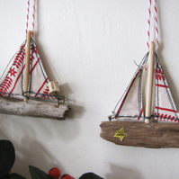 Driftwood boat Christmas decoration - white and red sails