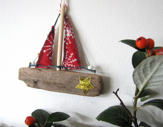 Driftwood boat Christmas decoration - red sails