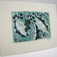 CHRISTMAS art print - holly in pale green