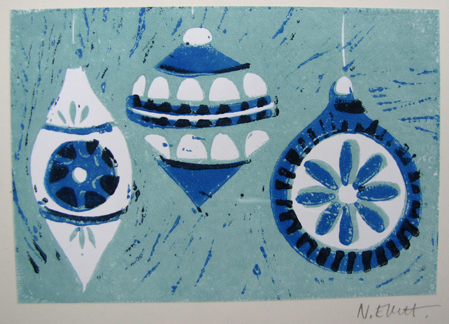 CHRISTMAS art print - blue baubles