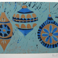CHRISTMAS art print - blue baubles on brown