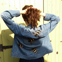 Upcycled denim jacket with bees