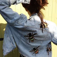 Upcycled light denim jacket with bees