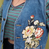 Upcycled denim waistcoat with flowers