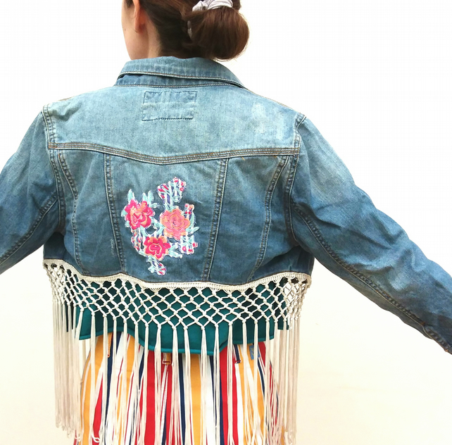 Upcycled denim jacket - tassels and flowers