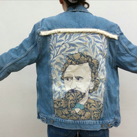 Upcycled denim jacket - William Morris on Willow (blue)