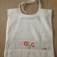 SALE Hand Embroidered baby christening bib