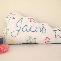 Embroidered Personalised cloud cushion