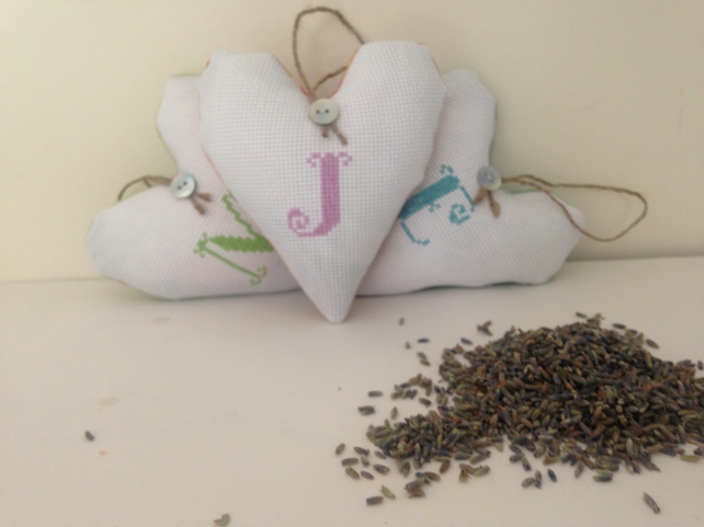 Personalised embroidered hanging lavender heart