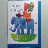 Animal Birthday Card - Present-Bearing Elephant