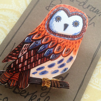 Hand drawn illustrated owl brooch