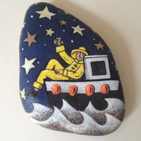 Salute the Stars - hand painted stone.