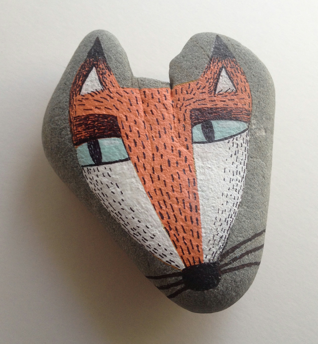 Foxy's Head - Handpainted Stone