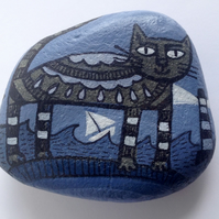 Hand-painted stone - Storm Living Cat