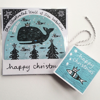 Illustrated Snow Globe - Self standing card decoration on whale theme
