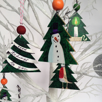 3 Hand painted and drawn Christmas Decoration - on wooden tree shapes.