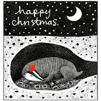 Christmas Cards - Badger Sleeping 3 pack square cards.