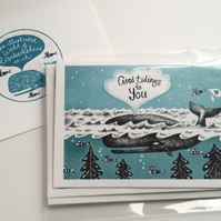 Christmas cards - 3 pack Whale and fish - A6 size - 'Good Tidings Whale'