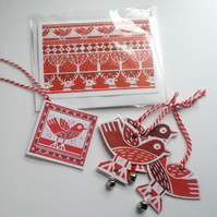 Three Christmas Illustrated Robin Hanging decorations with card and gift tag