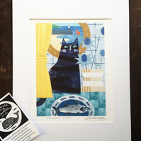 Nautical Art - Digital Print 'Harbour Cat's First Fish of the Day' 14 x 11 inch