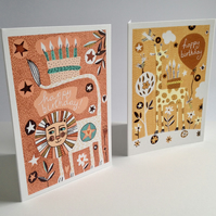 Animal Birthday Cards - two original illustrated Lion and Giraffe Birthday cards