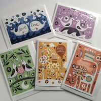 Illustrated Animal Cards - 5 hand-finished Occasions Cards - animals and stars
