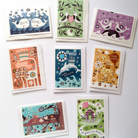 Animal Cards - 5-pack of Illustrated Occasions Cards. Animals and Stars range.