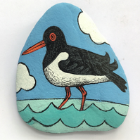 Painted Stone - Oystercatcher wading in water. Summery coastal decor