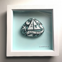 Framed hand-painted Stone - 'I Love the Sea' 6x6 inch frame. Original Artwork.