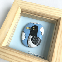 Framed Hand-painted Stone - 'Portrait of a Gull' 3x3 inch frame.