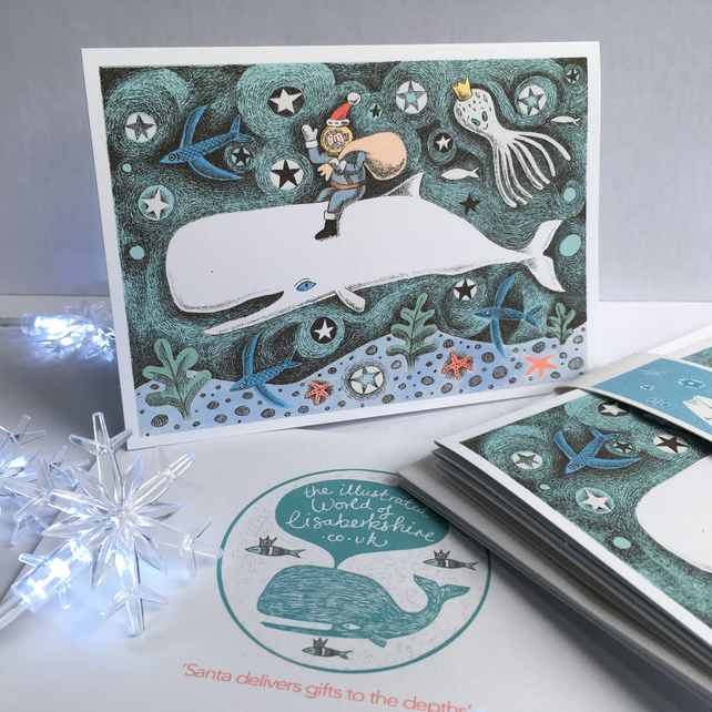 Santa and the Whale - 3 pack of A6 illustrated Christmas cards